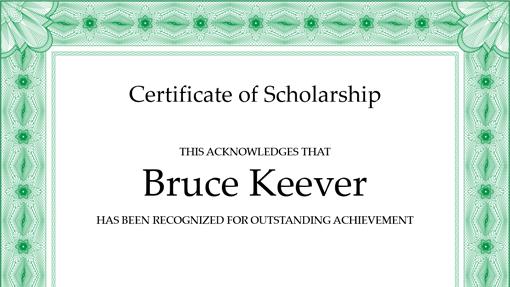 Certificate of scholarship (formal green border)