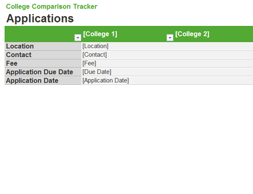 College Comparison Tracker