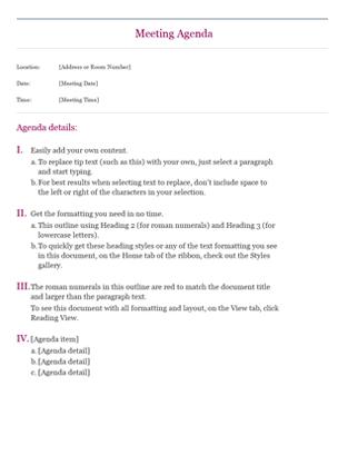 Classic meeting agenda - Templates - Office.com