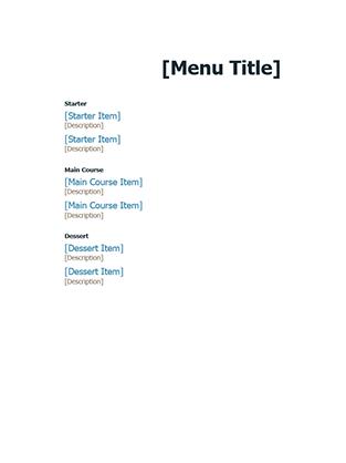 Formal event menu