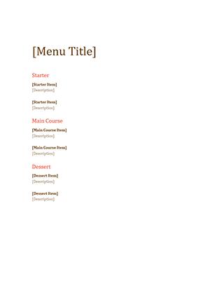 Event menu