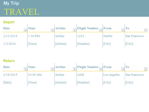 trip planner office templates