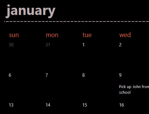 Evergreen calendar tabs (black)