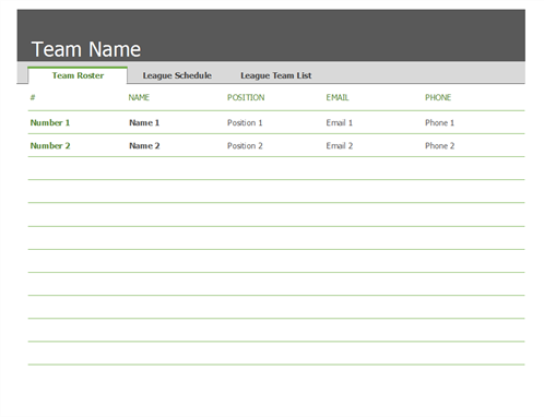 Sports roster and schedule - Office Templates