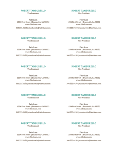 Business cards, horizontal layout, no logo (10 per page)