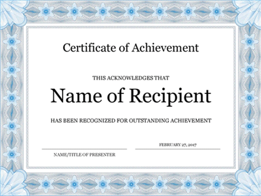 Certificate of achievement (blue)