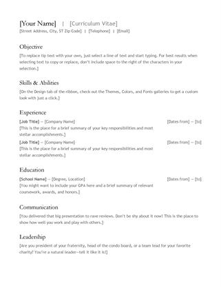 Curriculum Vitae (Resume) - Office Templates