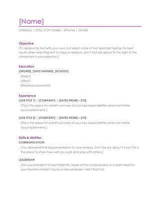 Resume (violet) Word  Timeline Resume