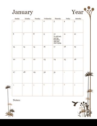12-month Calendar (Sun-Sat)