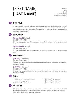 Student Resume (Modern design)