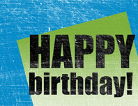 Birthday card, scratched background  (blue, green, half-fold)