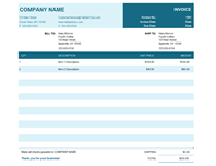 Basic invoice with unit price