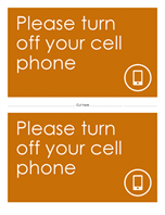 Cell phone off reminder poster (orange)