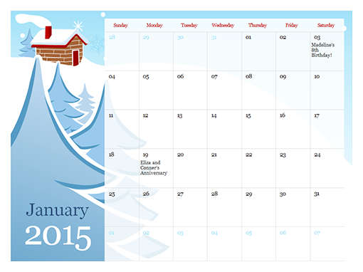 Calendar Templates Powerpoint Templates 2015 illustrated seasonal