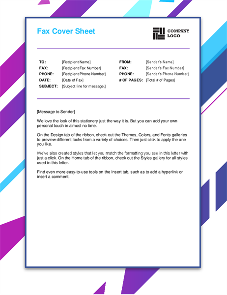 Purple graphic fax cover