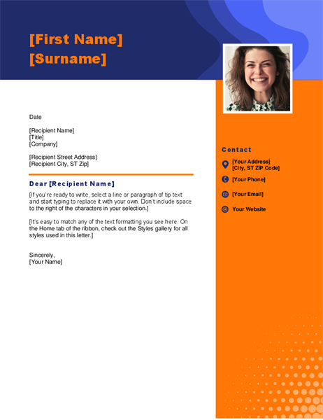 Headshot cover letter