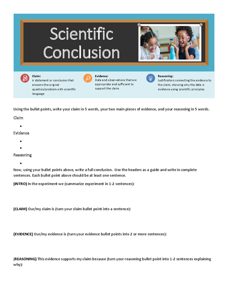 Scientific conclusion worksheet