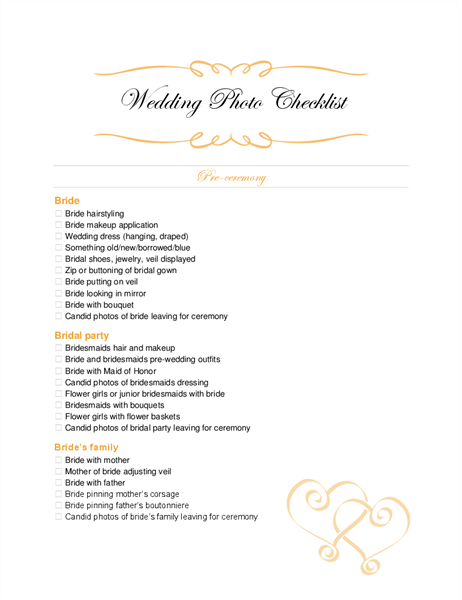 photograph relating to Wedding Photography Checklist Printable called Marriage ceremony photograph record
