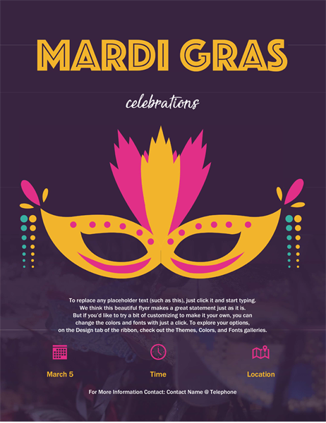 Mardi Gras event flyer