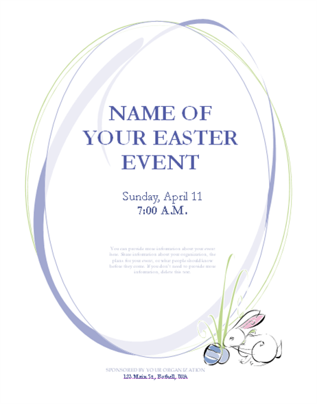 Flyer for Easter event (with bunny)