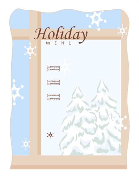 Holiday dinner menu