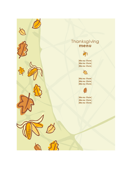 Autumn graphics Thanksgiving menu