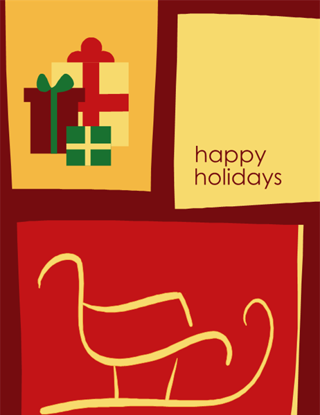 Holiday card from business (with sleigh, quarter-fold, A2 size)