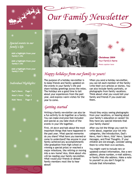 Holiday newsletter (with Santa's sleigh and reindeer)