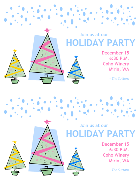 Holiday party invitations (2 per page, A9 size)