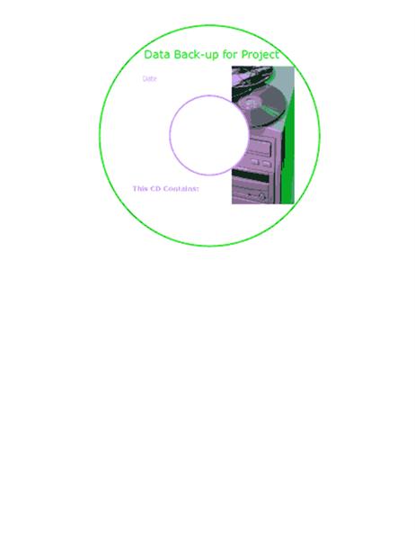 Data back-up CD or DVD face labels