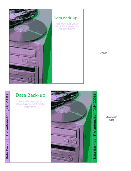 Data back-up CD or DVD case insert