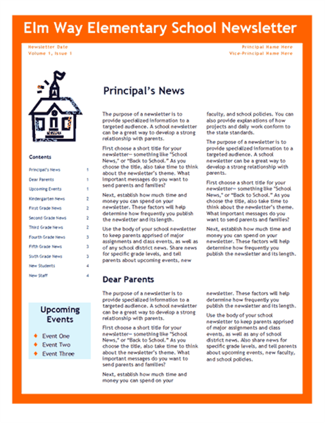 School newsletter (3-col., 4-pp.)