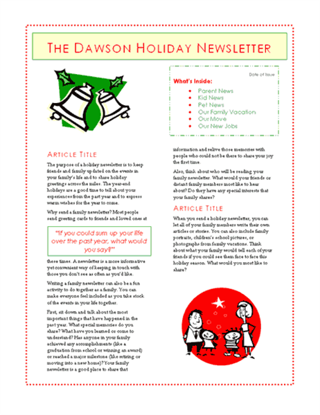 Family holiday newsletter (6 pages)