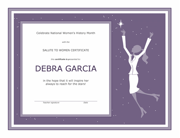 Women's history month certificate