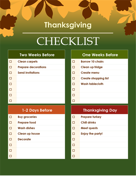 Green Thanksgiving checklist