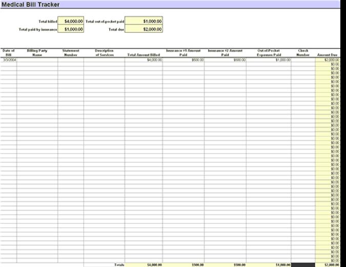 Patient S Medical Bill Tracker