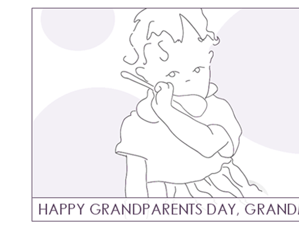Grandparents Day card (for Grandma, quarter-fold, A2 size)