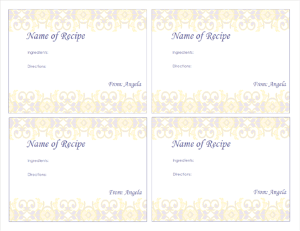 Recipe cards (fancy border design, 4 per page)