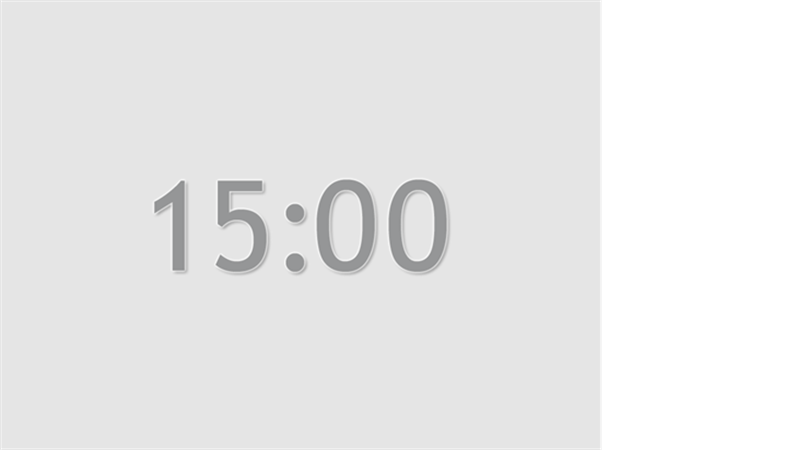 Fifteen minute timer slide (grey)