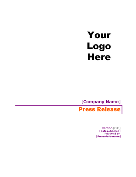 Press release with cover page