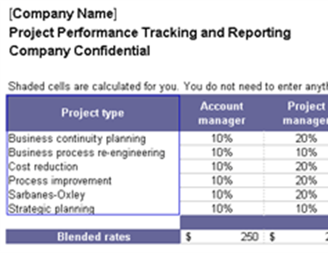 Project performance tracking and reporting
