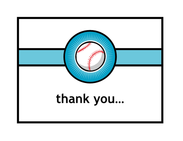 Thank you card (with baseball, quarter-fold, A2 size)