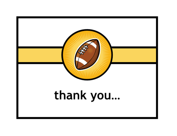 Thank you card (with football, quarter-fold, A2 size)