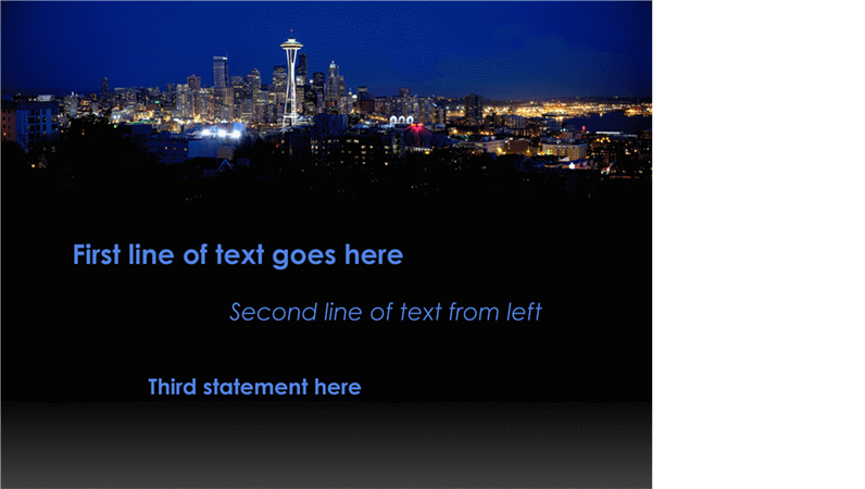 Animated captions move and change color over Seattle cityscape