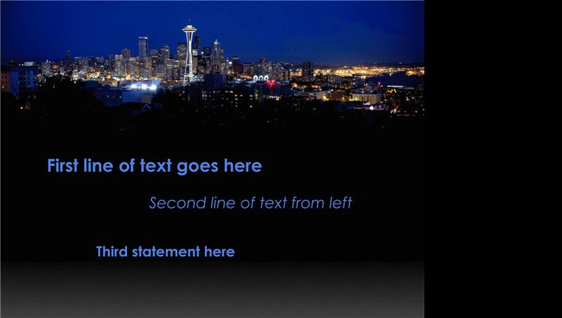 Légendes animées qui se déplacent et changent de couleur sur fond de panorama de la ville de Seattle
