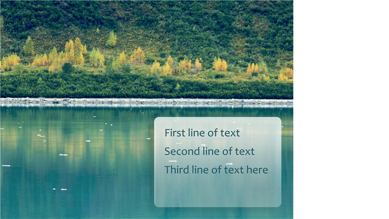 Animated captions fade into view over forest background