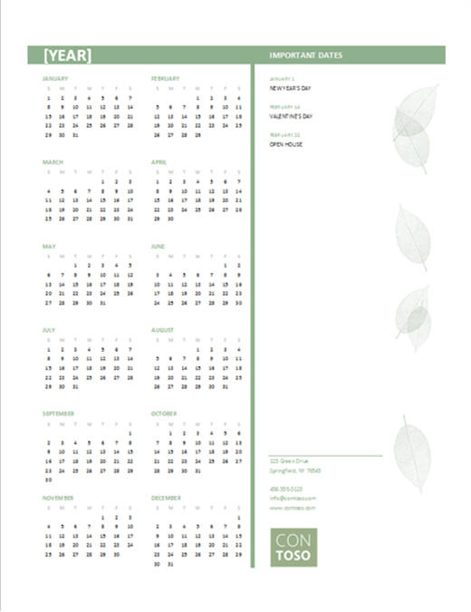 Small business calendar (any year, Sun-Sat)
