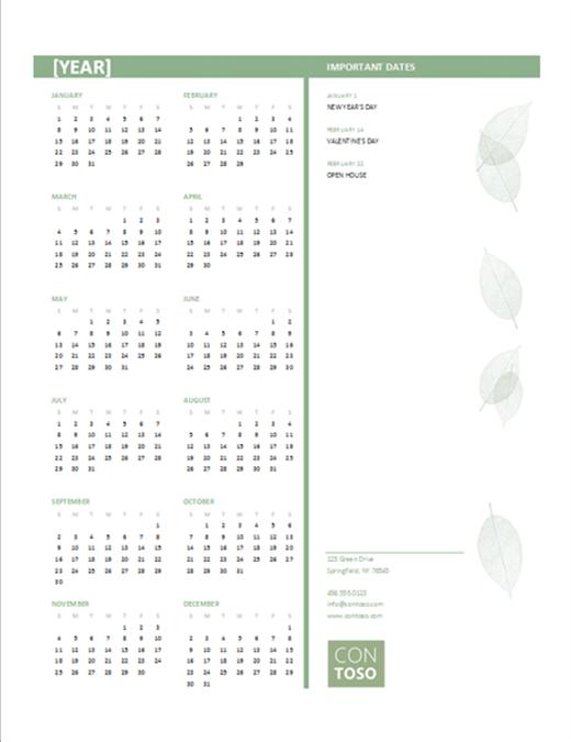 Small business calendar (any year, Sun-Sat)