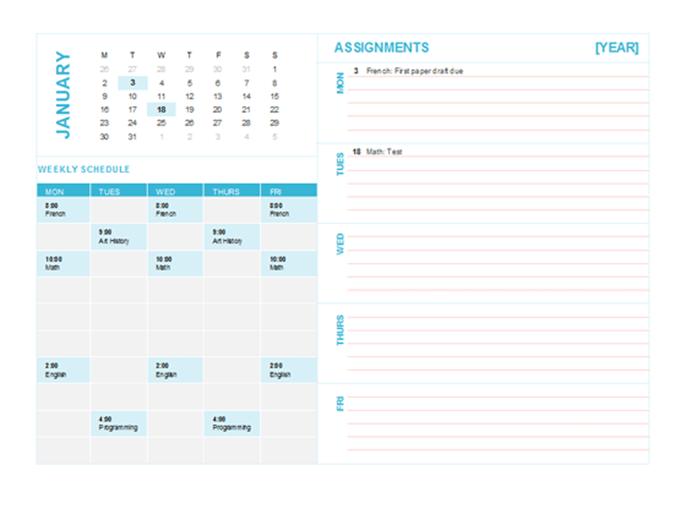 Calendrier de planning hebdomadaire pour étudiants (n'importe quelle année, Lun-Dim)