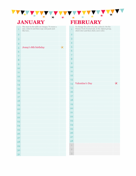 Birthday and occasion calendar